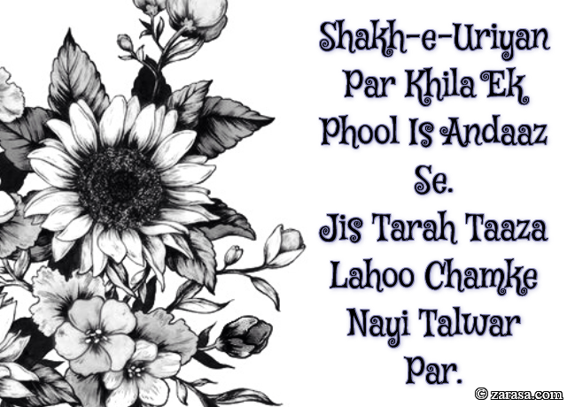 """Phool SHAYARI """"Shakh-e-Uriyan Par Khila Ek Phool Is Andaaz Se"""""""