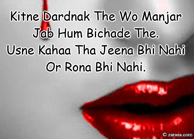 "Shayari for Dard""Kitne Dardnak The Wo Manjar Jab Hum Bichade The"""