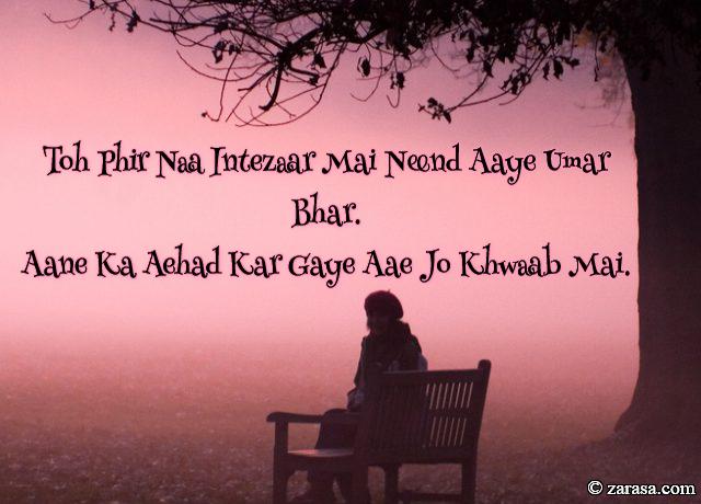 "Intezaar shayari  ""Aehad Kar Gaye Aae Jo Khwaab Mai"""