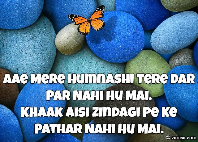"""Patthar Shayari """"Khaak Aisi Zindagi Pe Ke Pathar Nahi Hu Mai"""""""