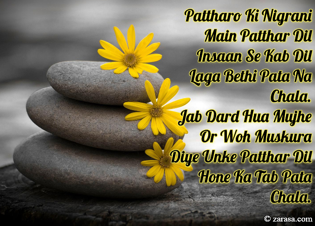 "Patthar Shayari ""Pattharo Ki Nigrani Main Patthar Dil Insaan"""
