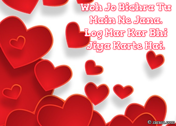 "Shayari for Love ""Log Mar Kar Bhi Jiya Karte Hai"""