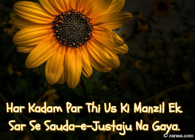 """Talaash Shayari """"Sar Se Sauda-e-Justaju Na Gaya"""""""