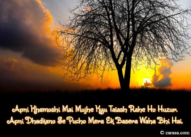 """Talaash Shayari """"Mujhe Kyu Talash Rahe Ho Huzur"""""""