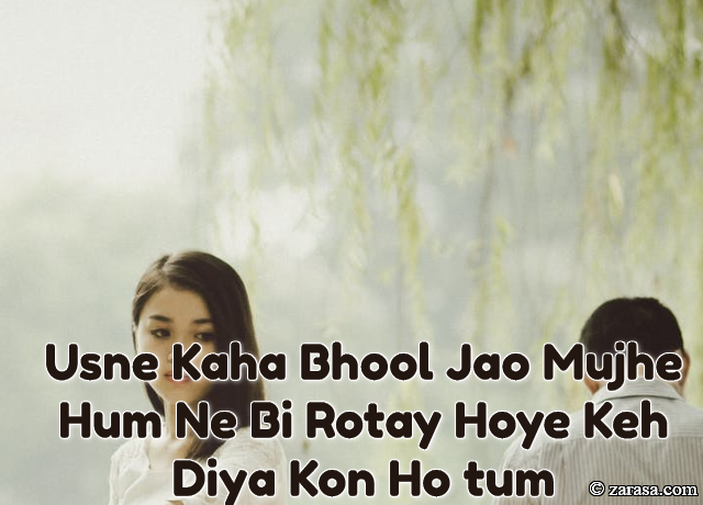 "Shayari for JUdaai ""Usne Kaha Bhool Jao Mujhe"""