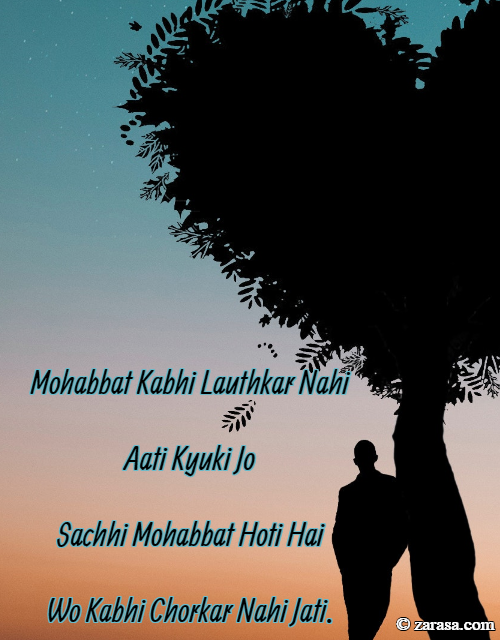 "Shayari For Mohabbat ""Mohabbat Kabhi Lauthkar Nahi Aati"""
