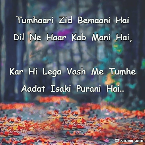 """Zid Shayari """"Tumhaari Zid Bemaani Hai Dil Ne Haar Kab Mani Hai,"""""""