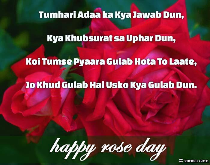 "Shayari for Rose day ""Koi Tumse Pyaara Gulab Hota To"""